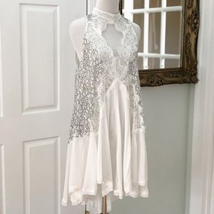 Free People White and Grey Sleeveless Tunic Top